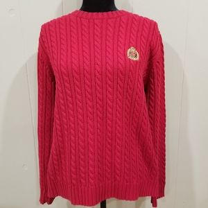 Ralph Lauren Vintage Red Cable Knit Sweater